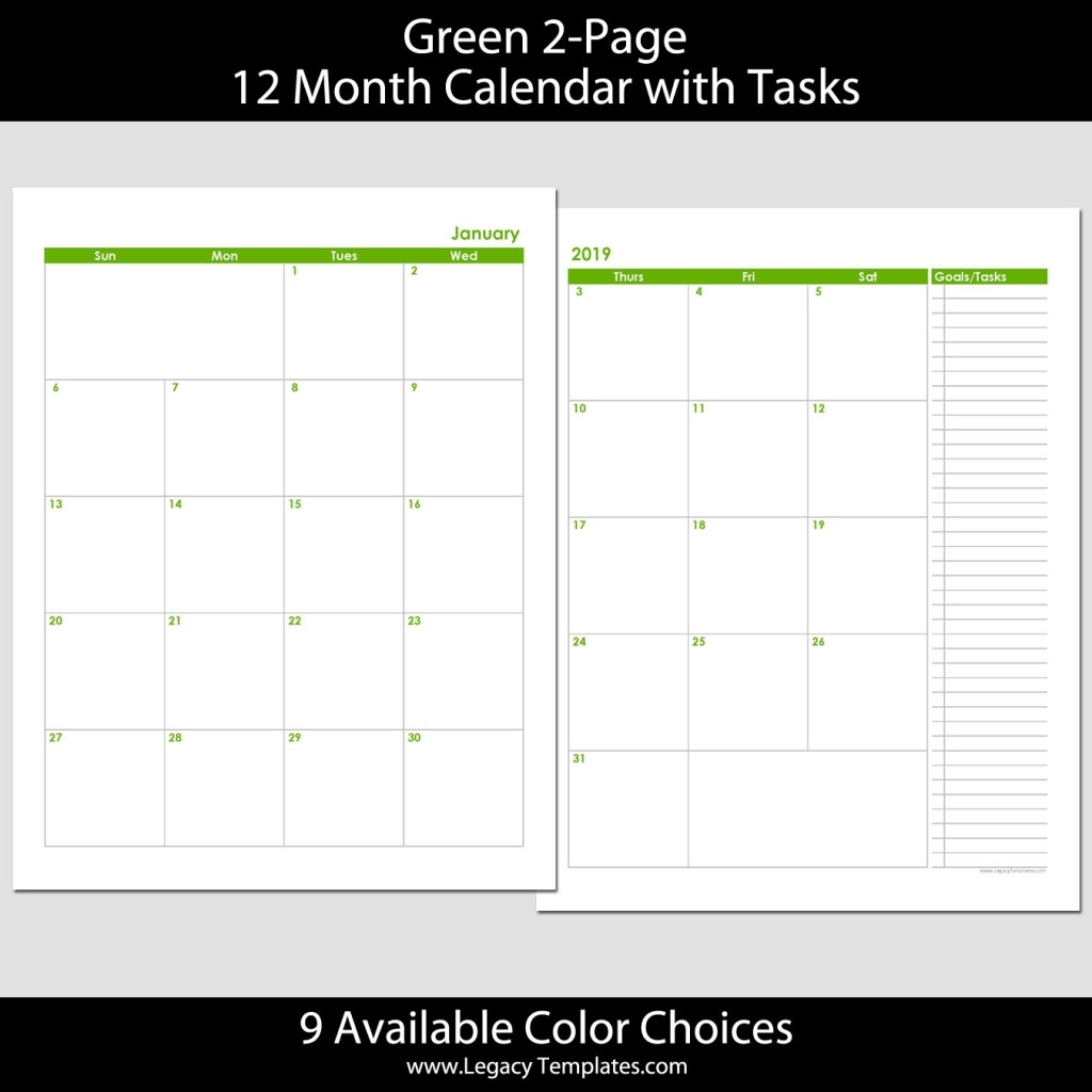2019 12-Month 2-Page Calendar – 8.5 X 11 | Legacy Templates 14 X 8.5 Monthly Calendar