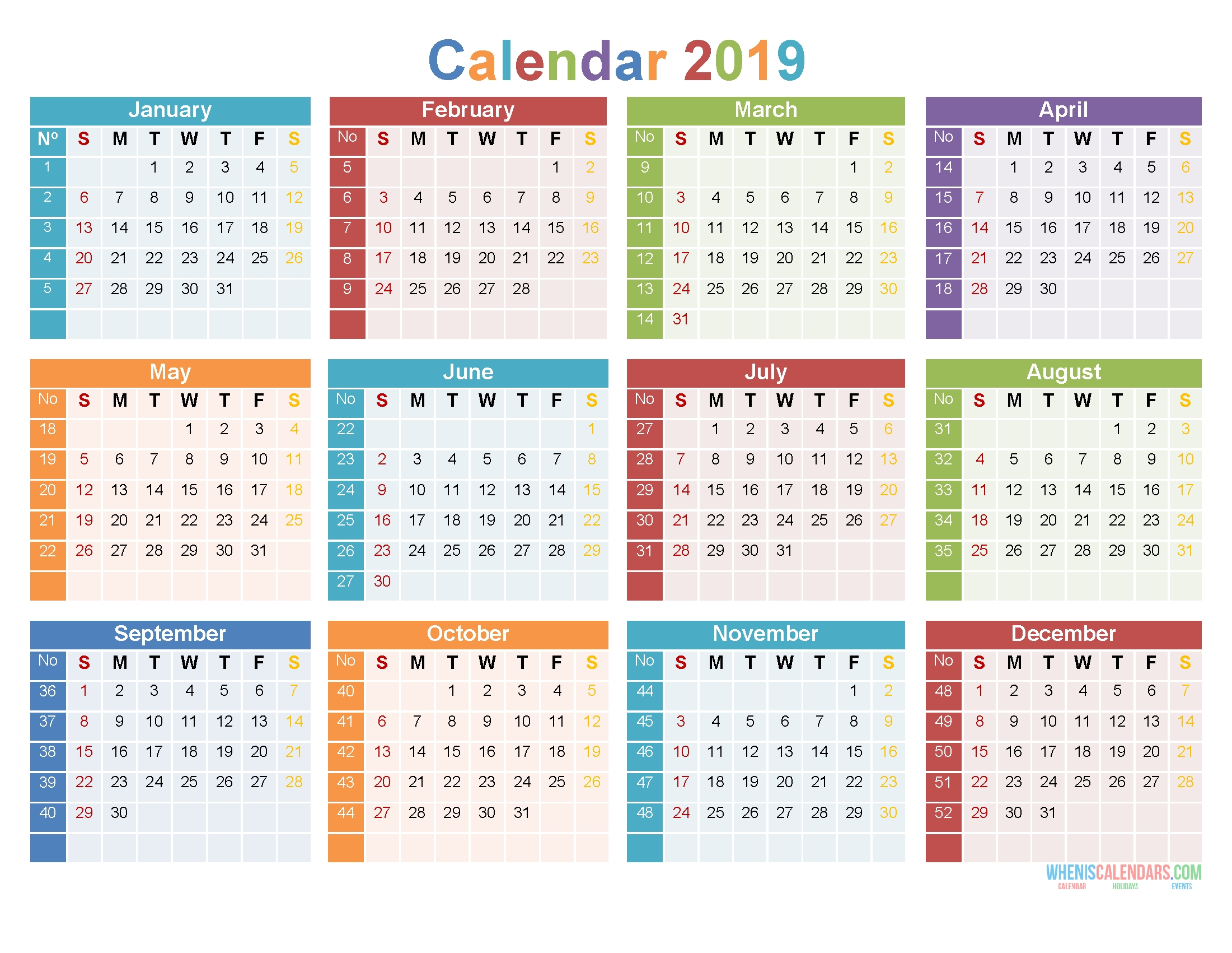 2019 12 Month Calendar Template Large Print Calendar Pdf Perky Calendar Template Months On One Page Word