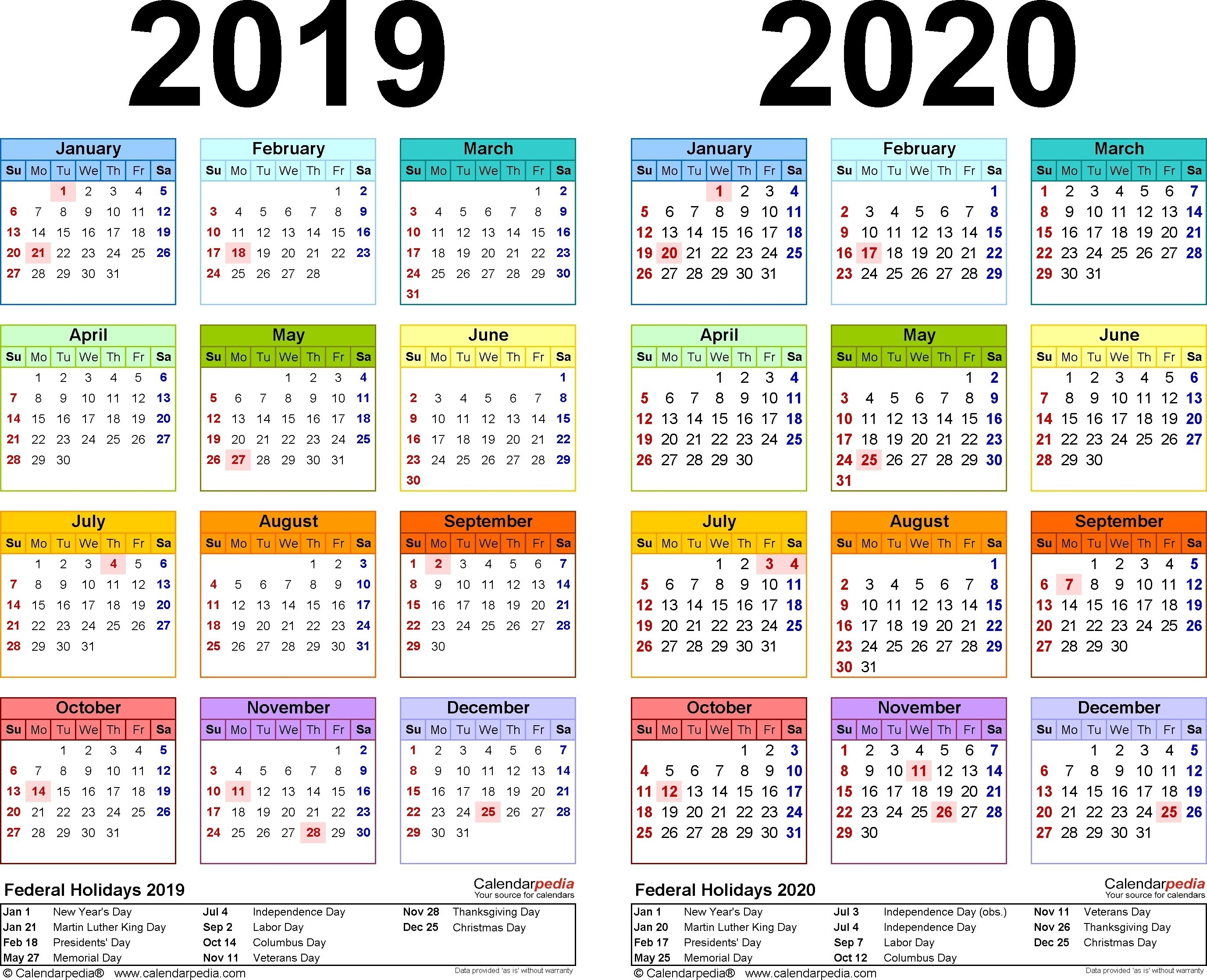 2019-2020 Calendar - Free Printable Two-Year Excel Calendars 2020 Calendar India Pdf