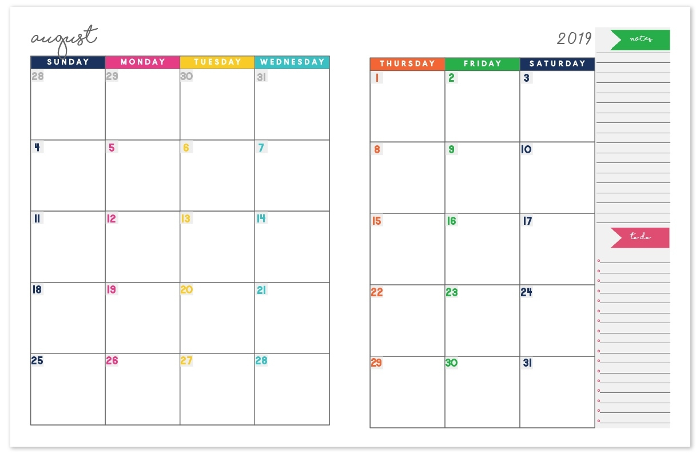 2019-2020 Monthly Calendar Planner   Free Printable Calendar 2 Page Printable Calendar 2020 Free