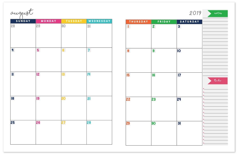 2019-2020 Monthly Calendar Planner   Free Printable Calendar Incredible Free 2 Page Monthly Calendar Templates 2020