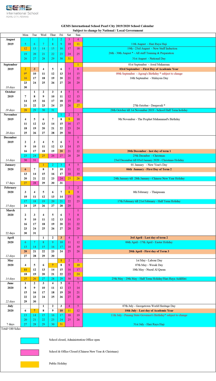 2019/2020 School Calendar - Gems International School Extraordinary Malaysia School Academic Calendar 2020