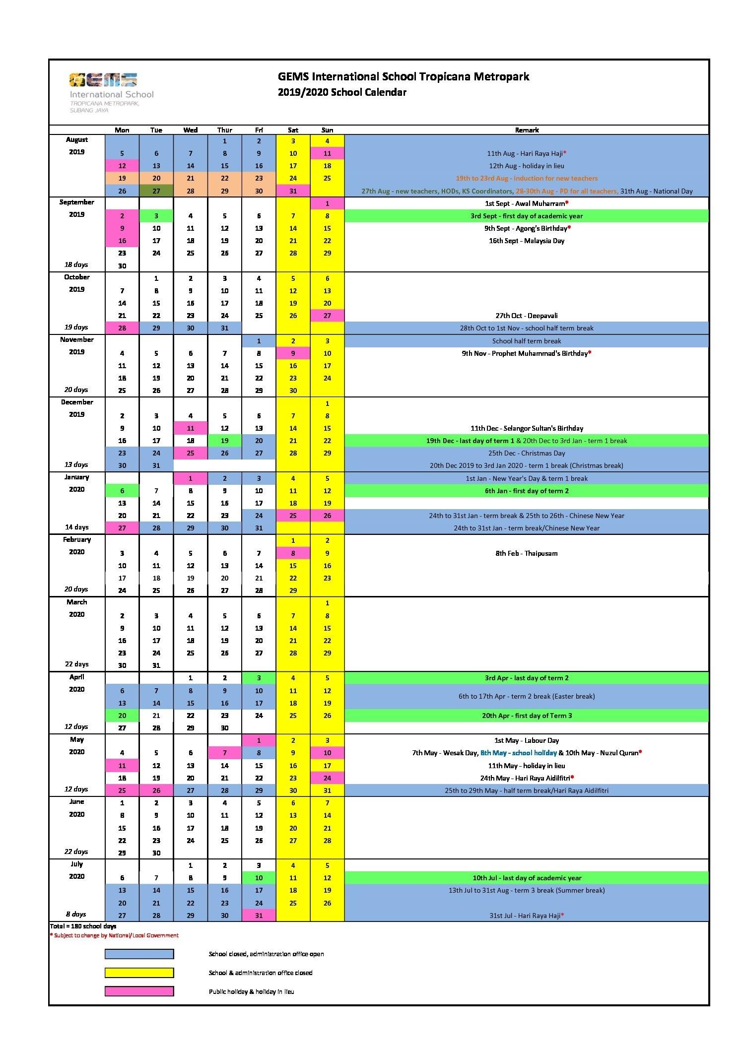 2019/2020 School Calendar - Gems International School Metropark Remarkable Calendar 2020 Malaysia With School Holiday