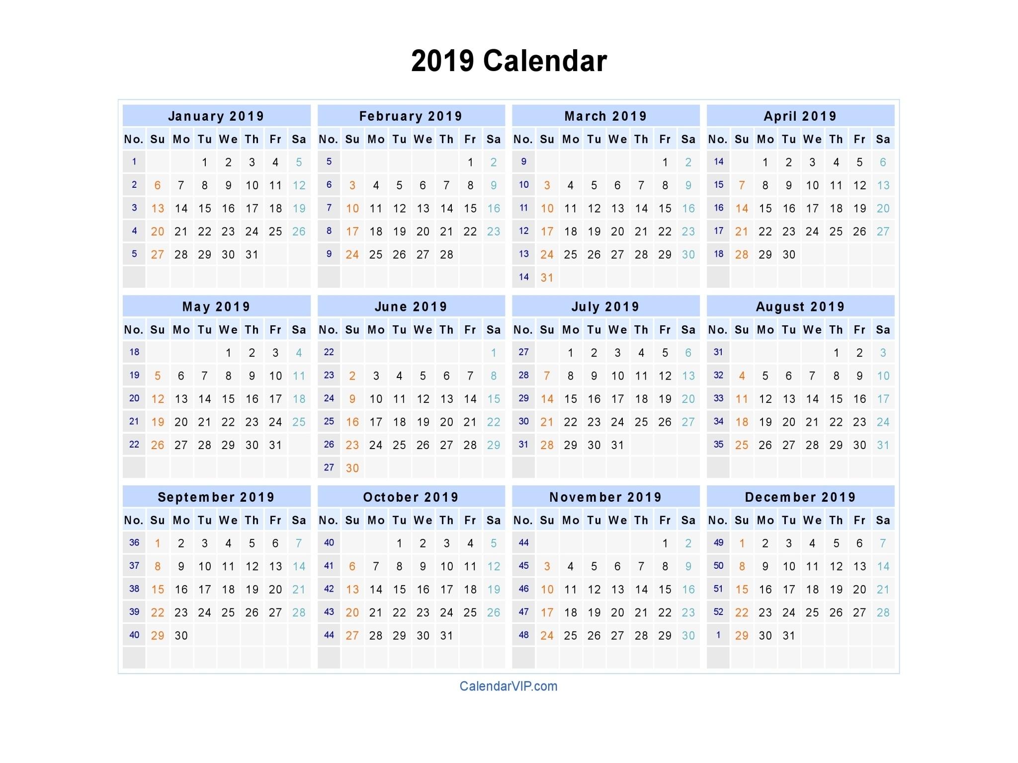 2019 Calendar - Blank Printable Calendar Template In Pdf Dashing 2020 Calendar Numbered Weeks