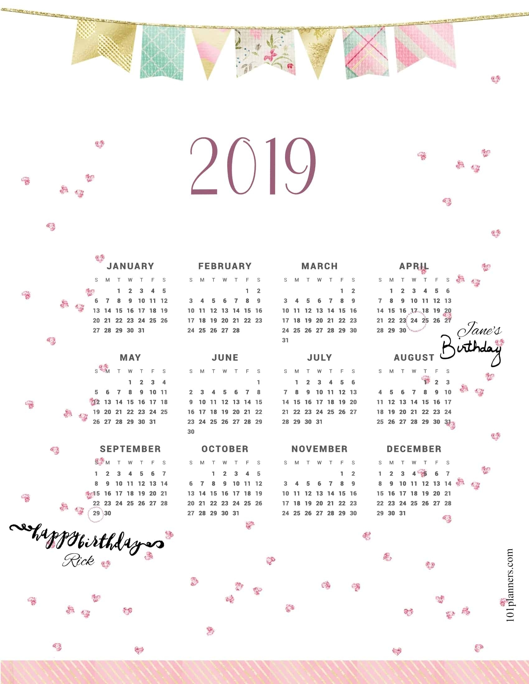 2019 Calendar Exceptional Free Month At Glance Calendar