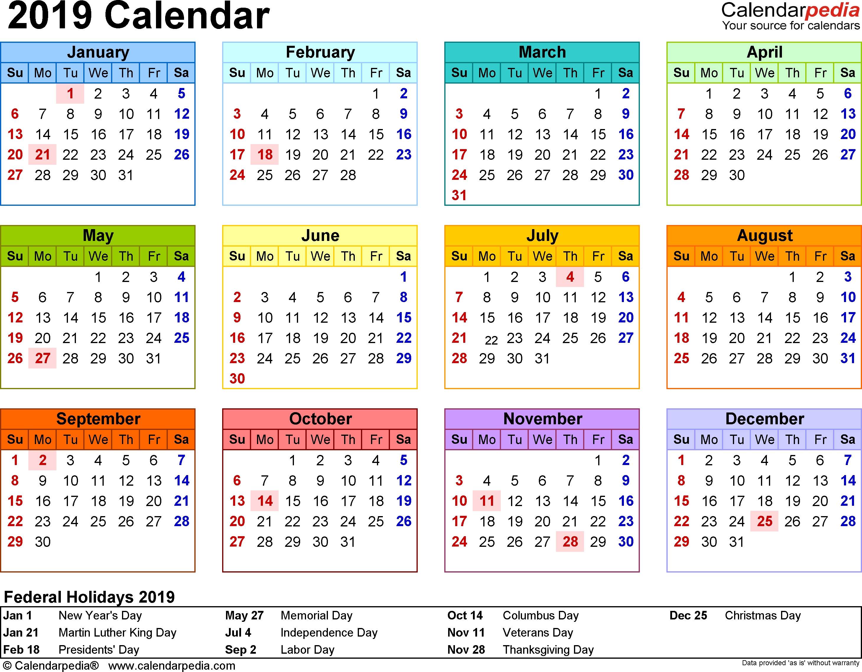 2019 Calendar - Free Printable Templates Free Month At Glance Calendar