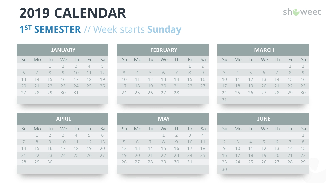 2019 Calendar Powerpoint Templates Calenders With 6 Months Showing