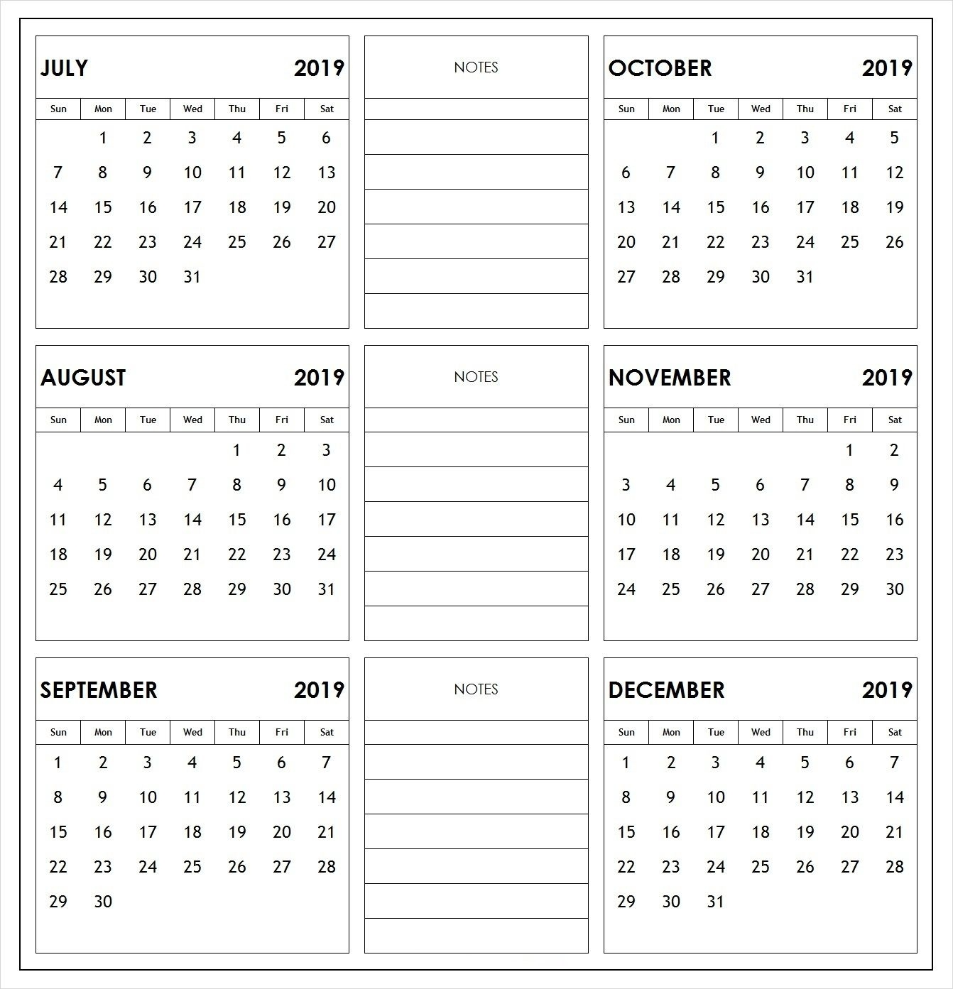 2019 Half Year Print Calendar | Print Calendar, 2019 6 Month Fill In Calendar On One Page