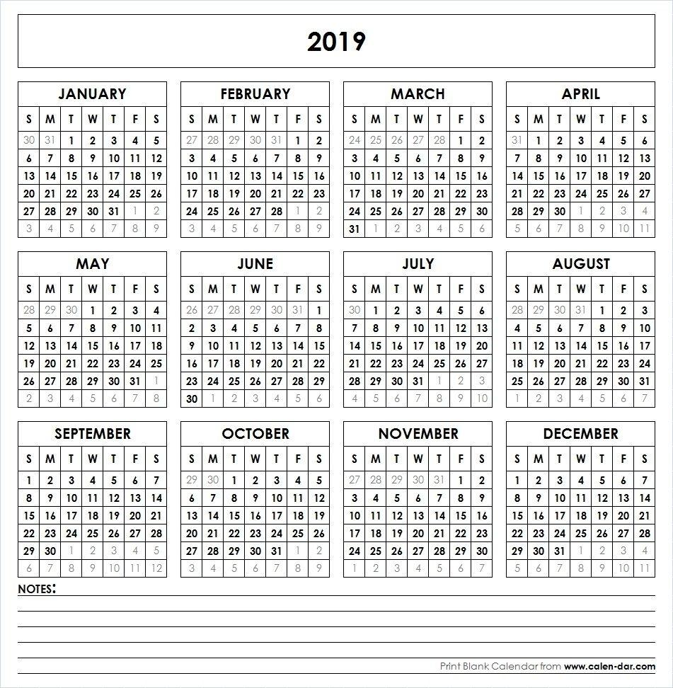2019 Printable Calendar | Printable Yearly Calendar, Yearly 8.5 By 14 Printable Calendars