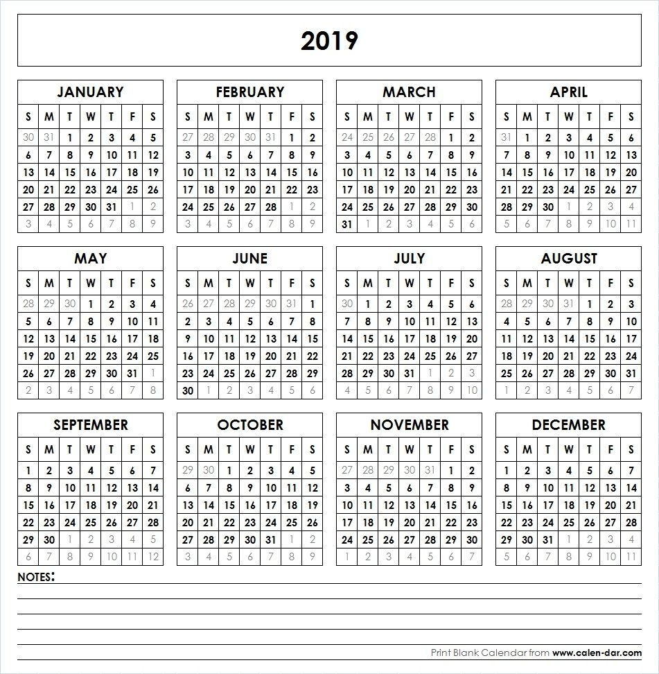 2019 Printable Calendar | Printable Yearly Calendar, Yearly Extraordinary Calendars For The Whole Year