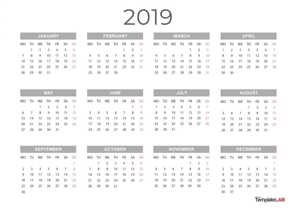 2019 Printable Calendars [Monthly, With Holidays, Yearly] ᐅ Extraordinary Calendars For The Whole Year