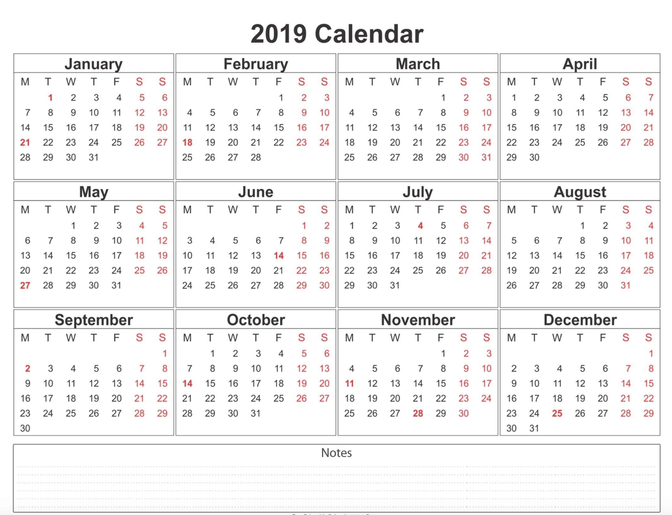 2019 Weekly Calendar Printable | Calendar 2019 Template, 12 Perky Calendar Template Months On One Page Word