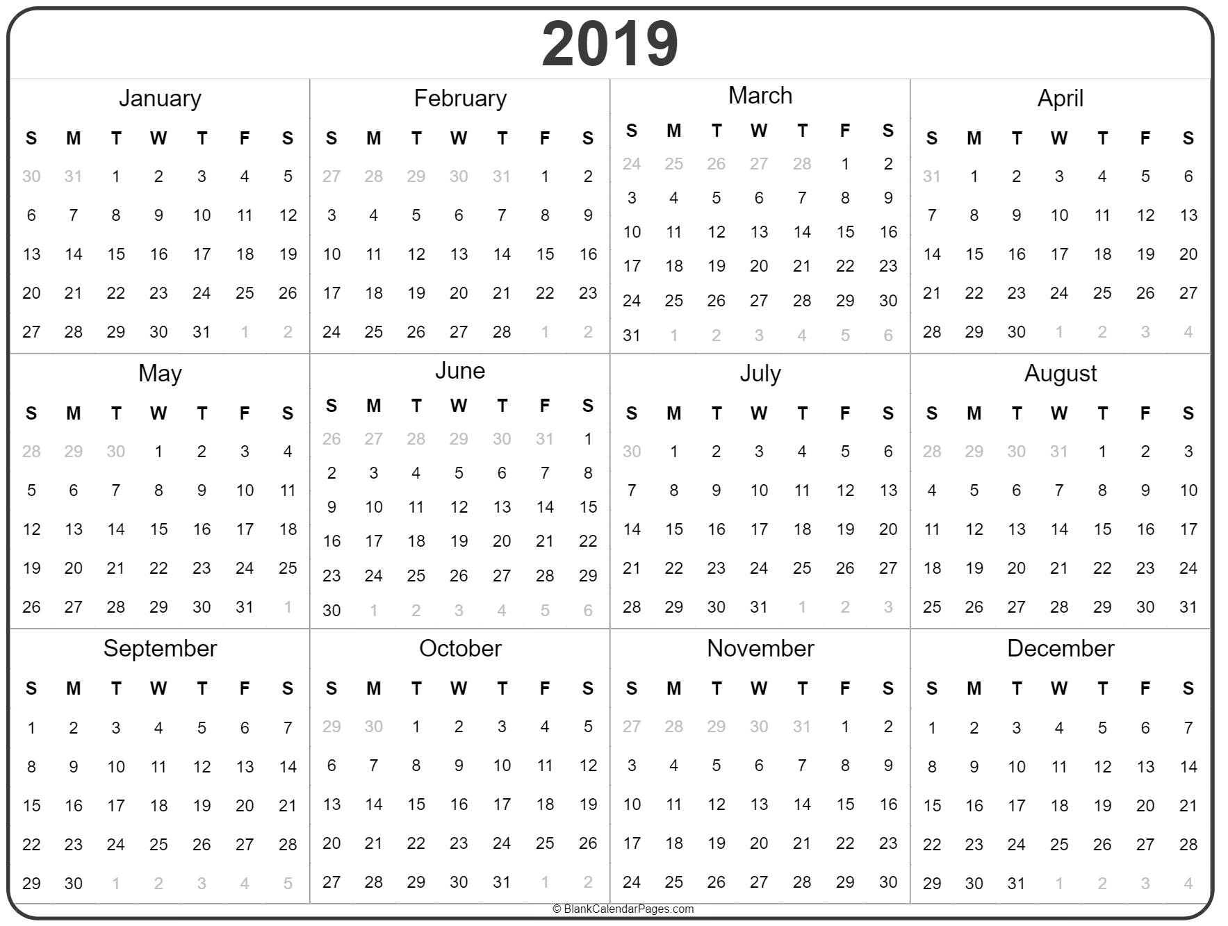 2019 Year Calendar | Yearly Printable Calendars For The Whole Year