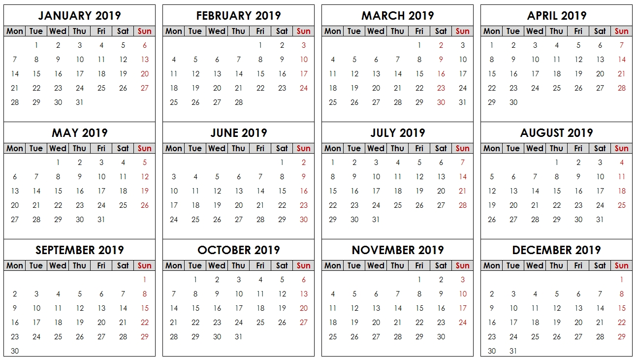 2019 Yearly Calendar With Date Boxes – Printable 2019 Printable Calendar With Date Boxes