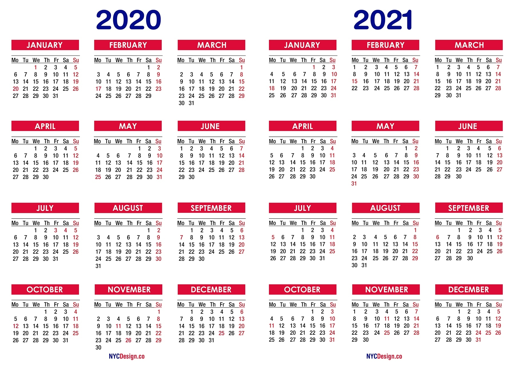 2020 – 2021 Two Year Calendar With Holidays, Printable Free 2 Year Calendar 2020 And 2021