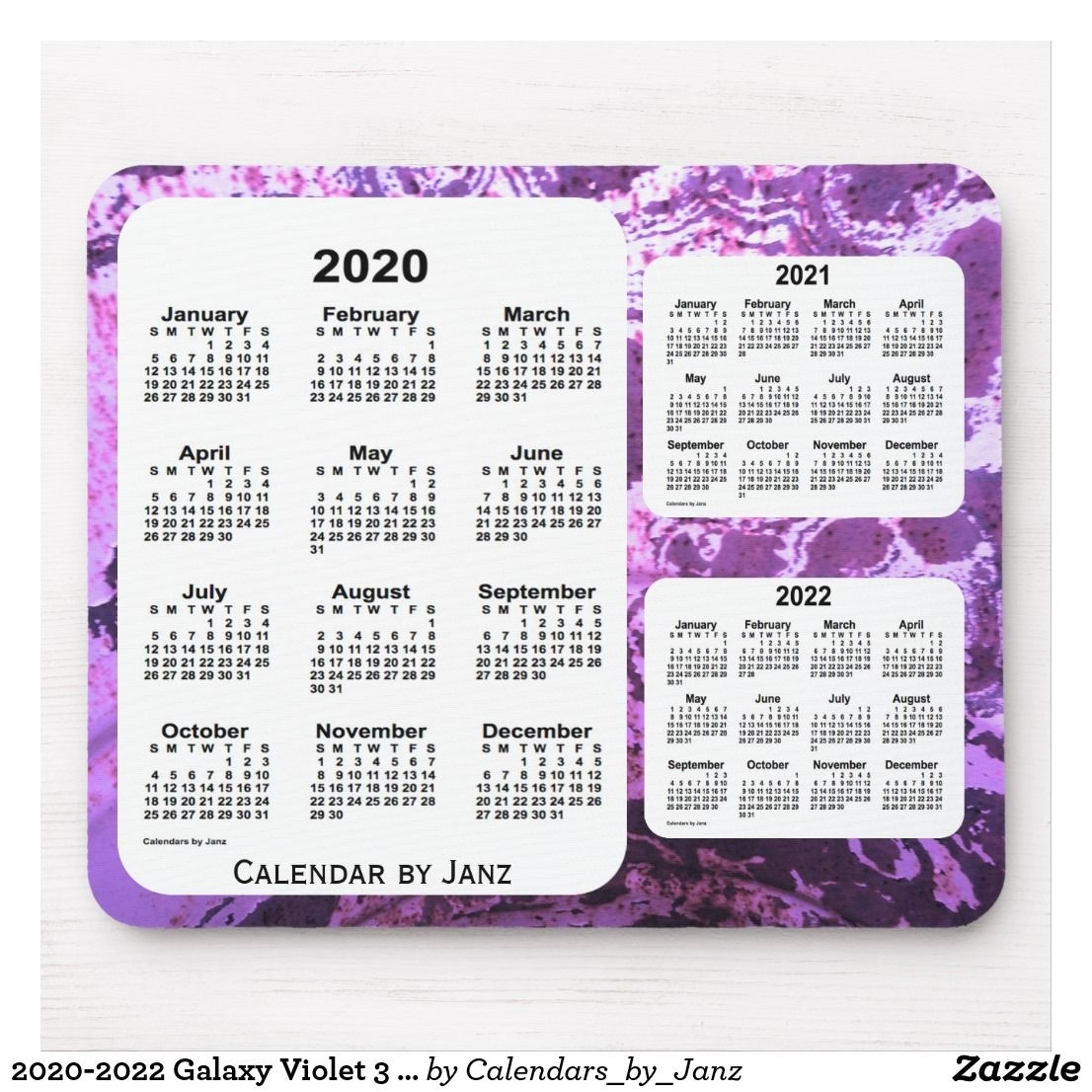 2020-2022 Galaxy Violet 3 Year Calendar By Janz Mouse Pad 3 Year Calendar Reference Printable 2020-2022