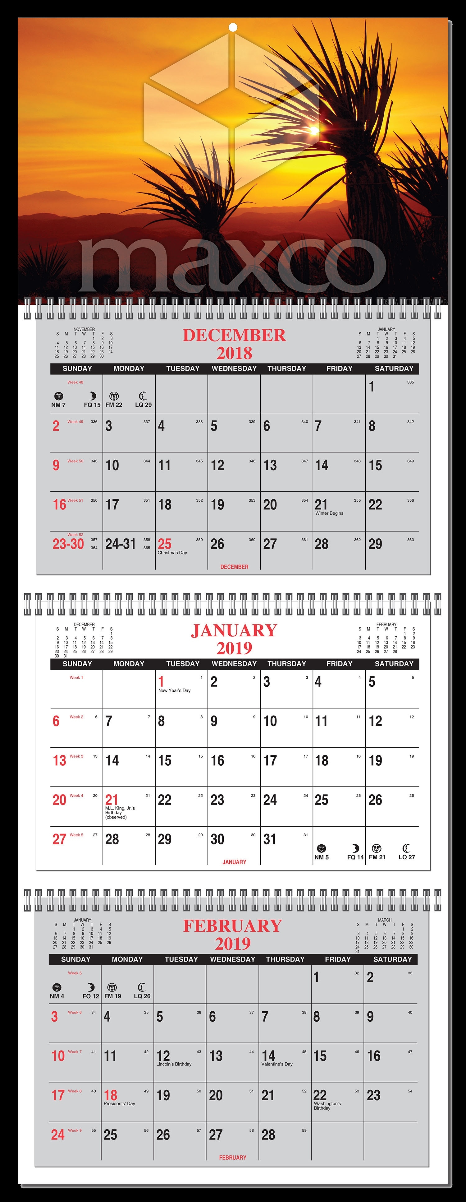 2020 3 Month Calendar At A Glance- 4 Panel W/ Numbered Weeks Extraordinary Commercial 14-Month Wall Calendar With 3-Month View