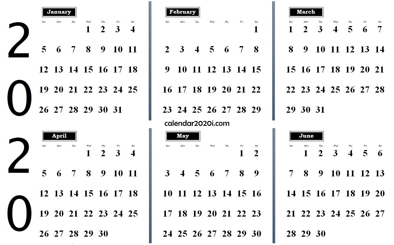 2020 6 Months Calendar From January To June   Monthly Blank Calendar 2020 Four Months To Page