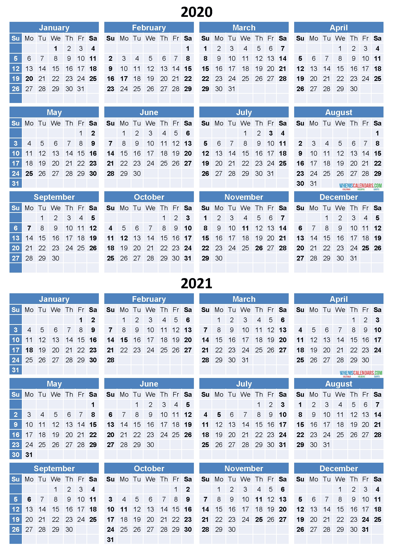 2020 And 2021 Calendar Printable Free Download Word, Pdf Incredible 2 Year Calendar 2020 And 2021