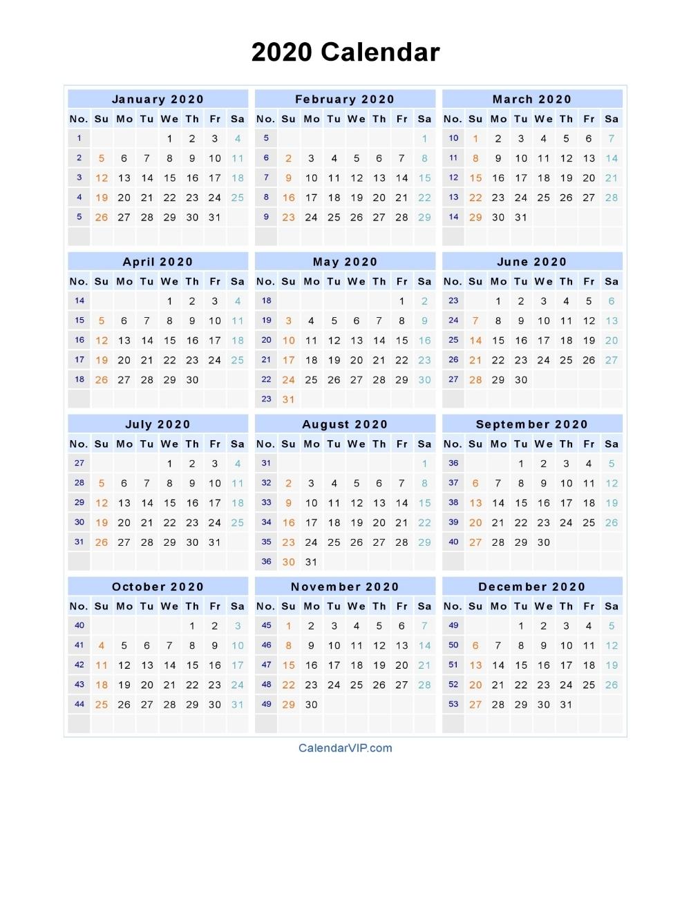 2020 Calendar - Blank Printable Calendar Template In Pdf Dashing 2020 Calendar Numbered Weeks