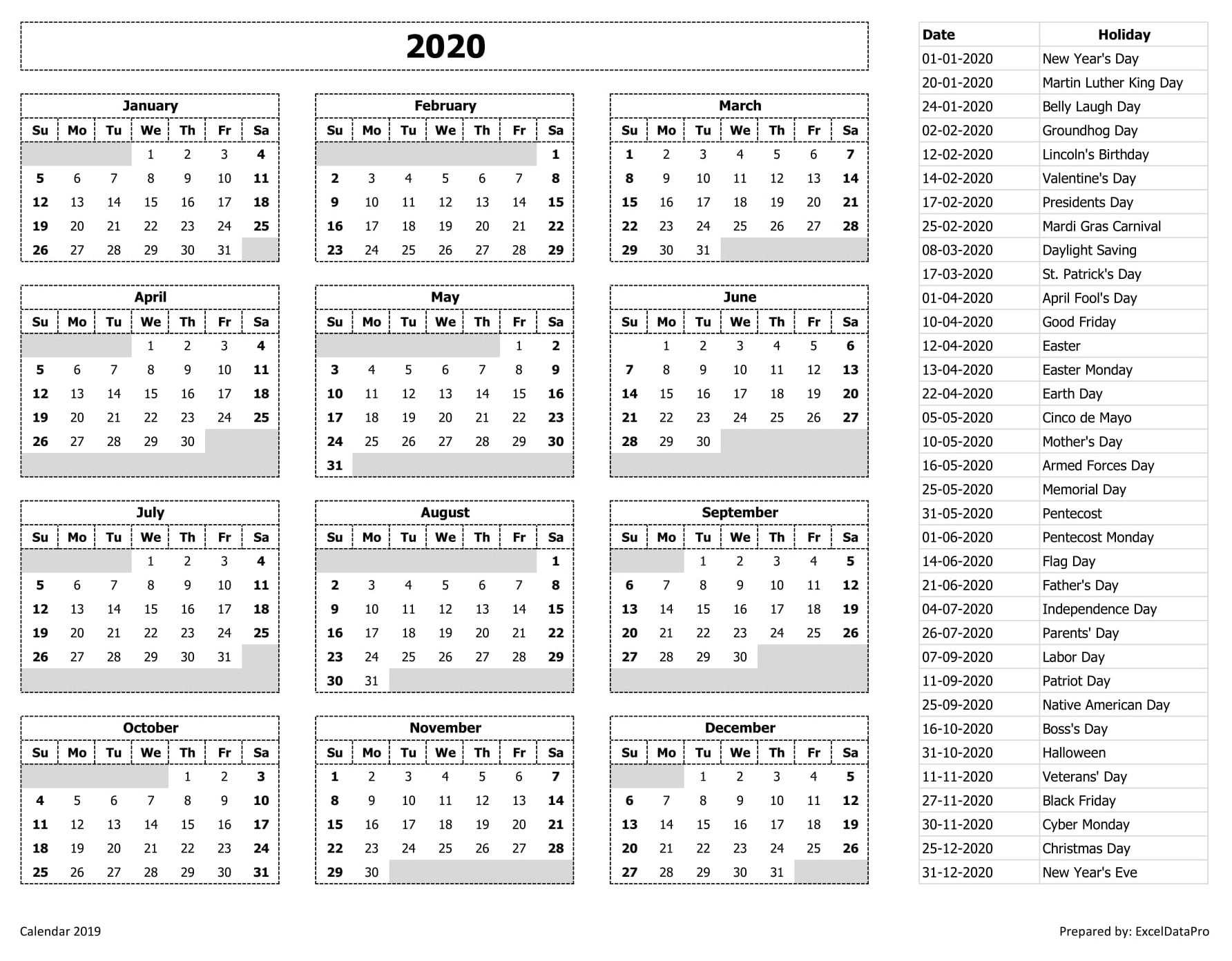 2020 Calendar Excel Templates, Printable Pdfs & Images Remarkable 2020 Calendar India Pdf