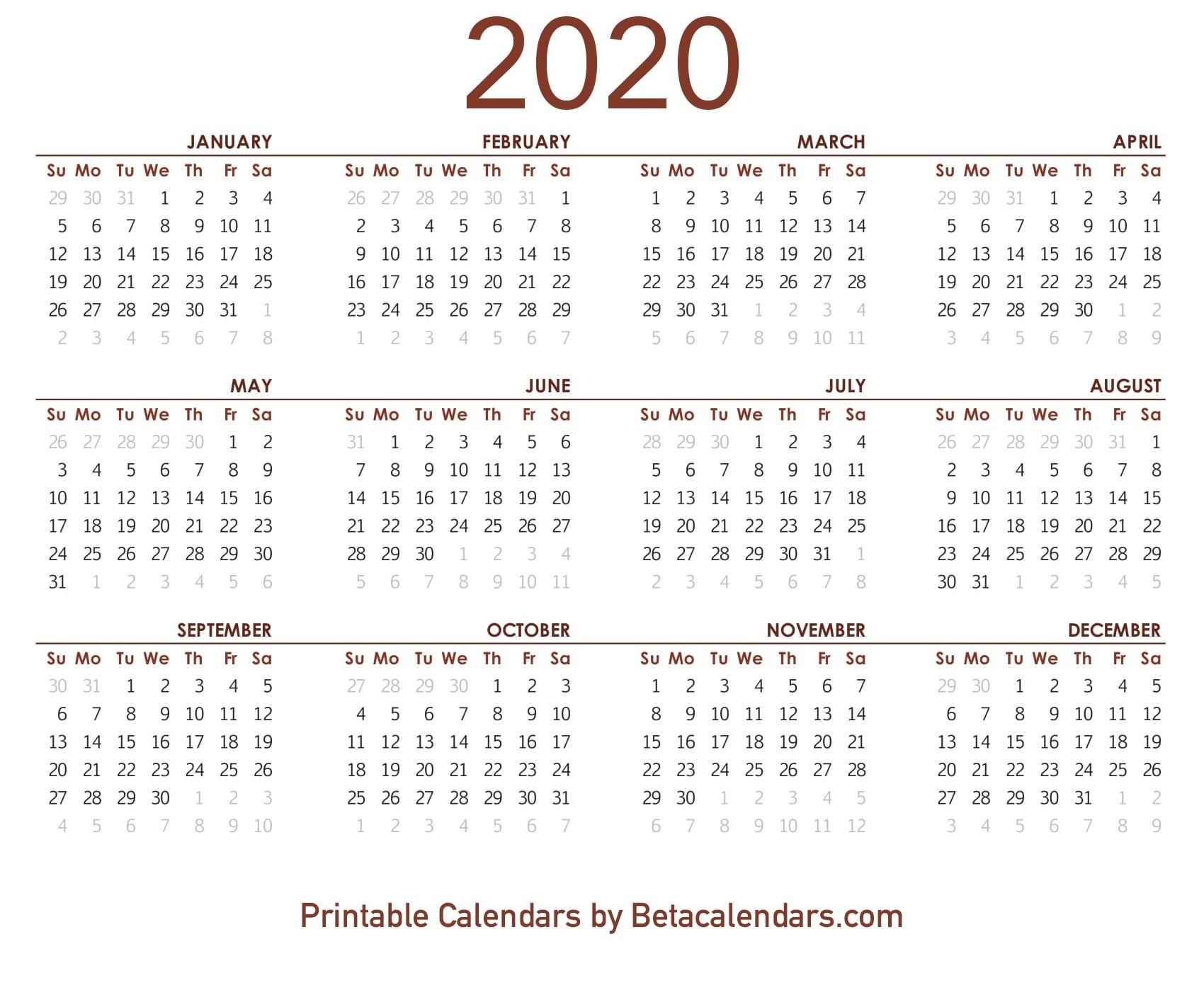 2020 Calendar - Free Printable Yearly Calendar 2020 Extraordinary 2020 Yearly Calendar Printable