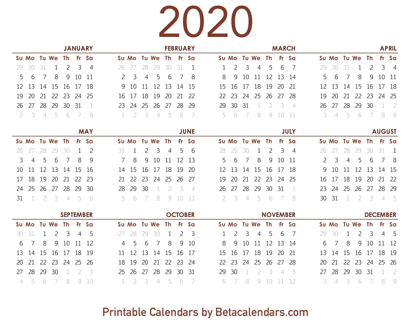 2020 Calendar - Free Printable Yearly Calendar 2020 Year Calendar 2020 Printable