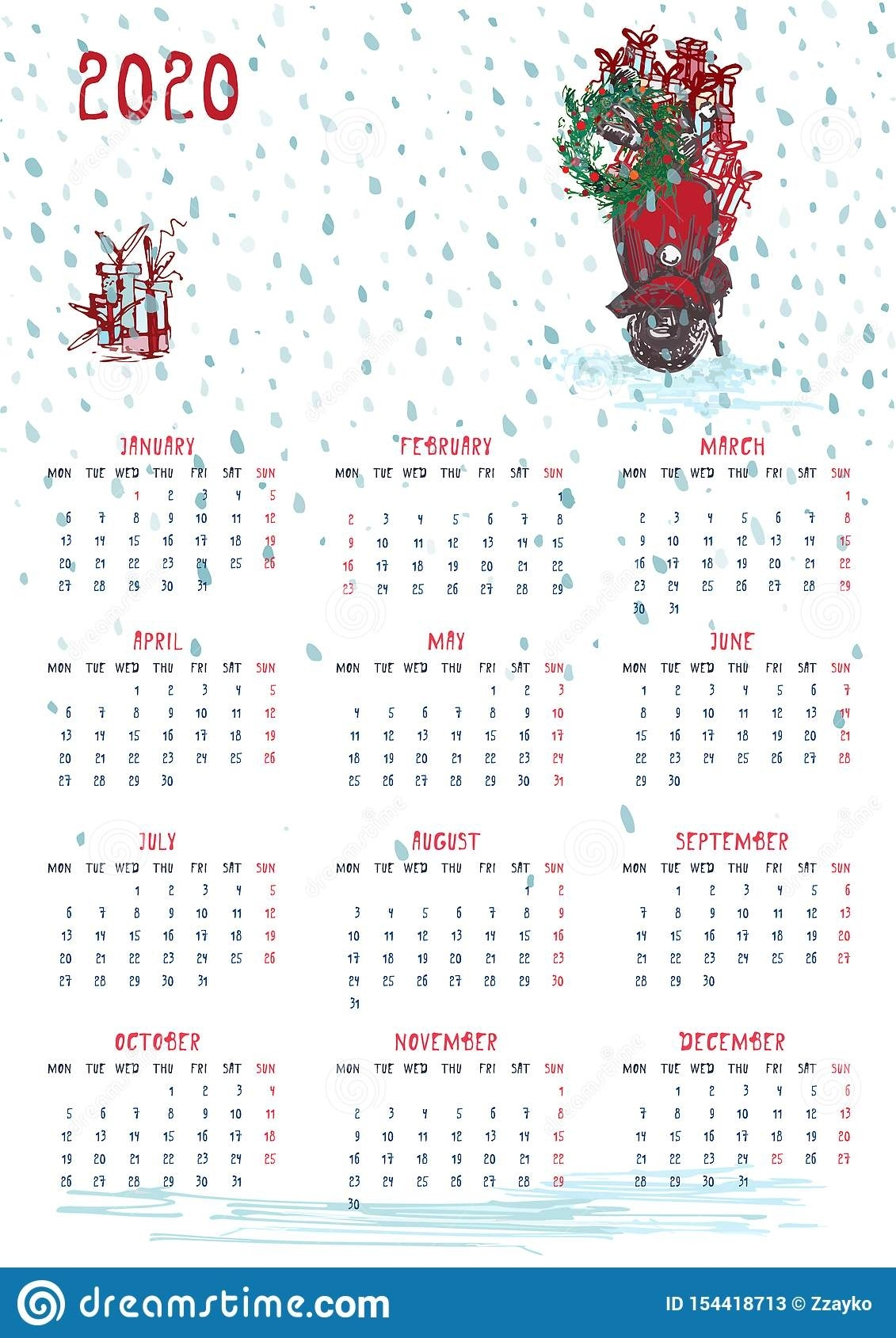 2020 Calendar Planner Whith Red Christmas Truck, New Year Remarkable Christmas Calendar 2020 Printable Free