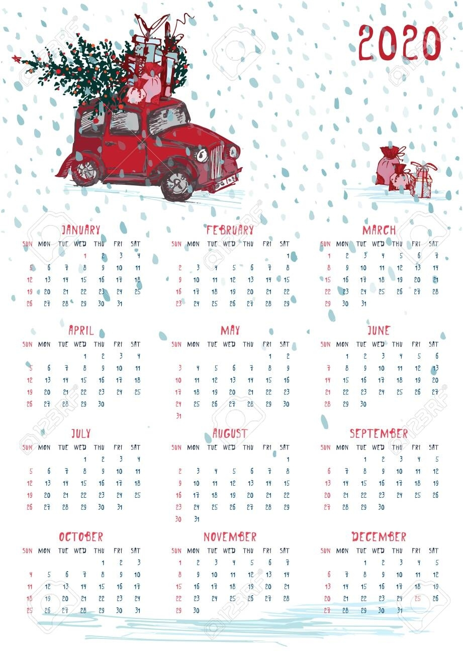 2020 Calendar Planner Whith Red Christmas Truck, New Year Tree.. Remarkable Christmas Calendar 2020 Printable Free