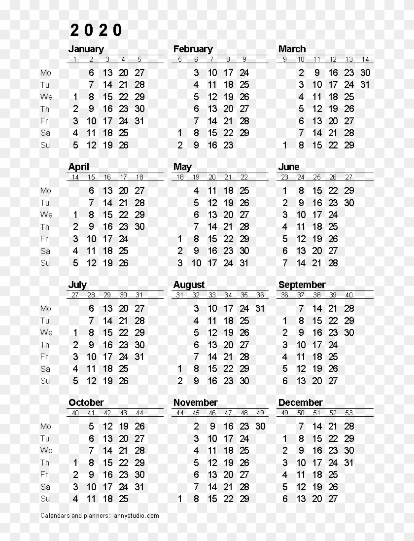 2020 Calendar Png Download Image - 2020 Calendar With Week Dashing 2020 Calendar Numbered Weeks
