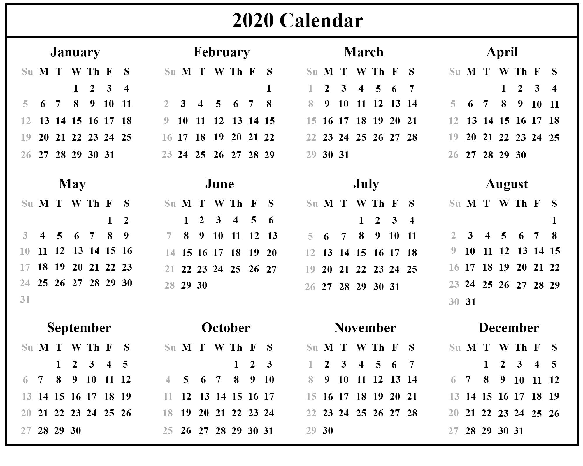 2020 Calendar Printable Nsw | Monthly Printable Calender Nsw Calendar 2020 Free Printable