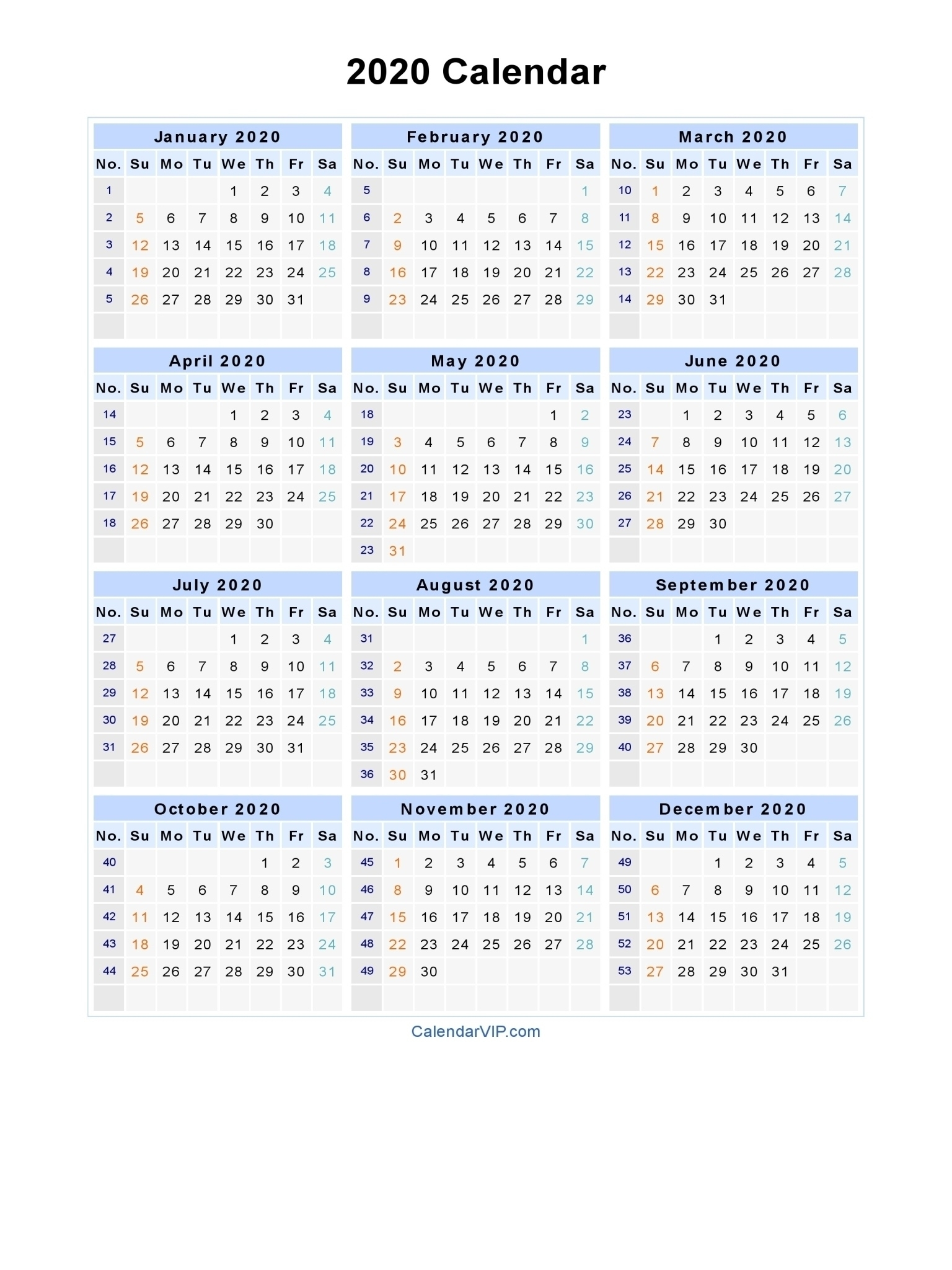 2020 Calendar Printable South Africa | Monthly Printable South African Calendar 2020 Pdf