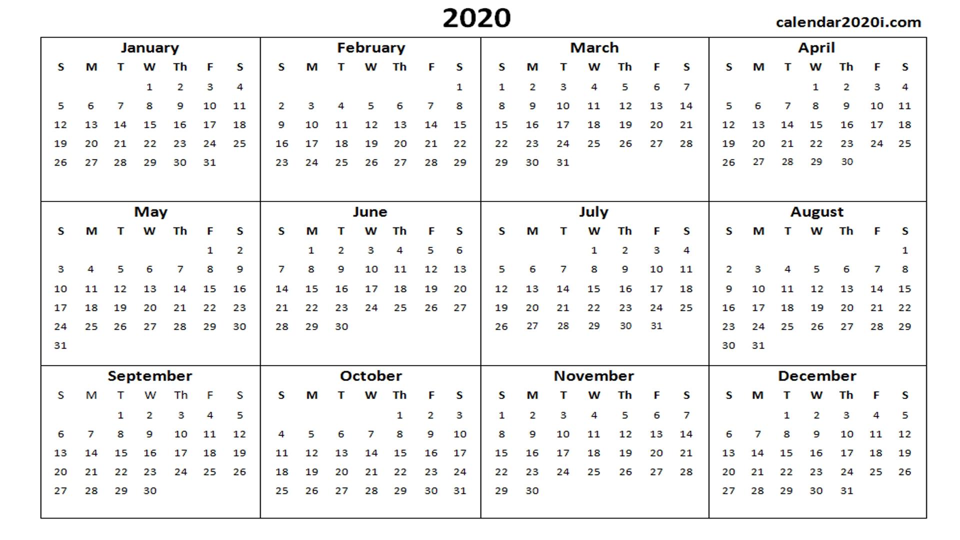 2020 Calendar Printable Template Holidays, Word, Excel, Pdf Exceptional Microsoft Word Printable Calendar 2020