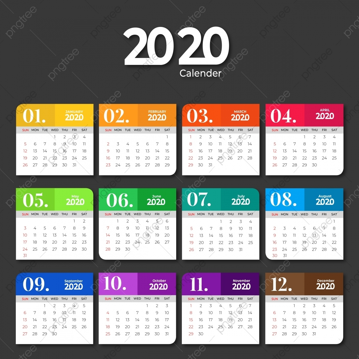 2020 Calendar Template Design With Solid Colors, 2020 Impressive 2020 Calendar Free Vector