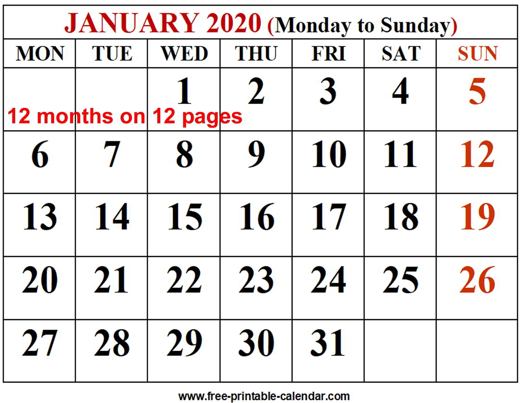2020 Calendar Template - Free-Printable-Calendar Incredible Free 2 Page Monthly Calendar Templates 2020
