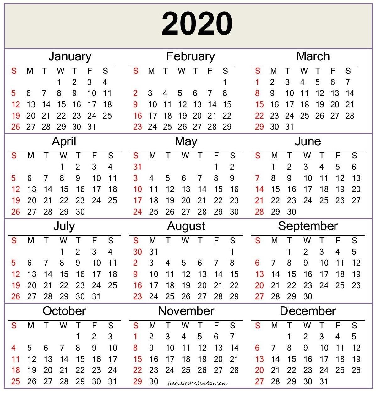 2020 Calendar Template — Word, Pdf - Freelatest Calendar Perky Calendar Template Months On One Page Word