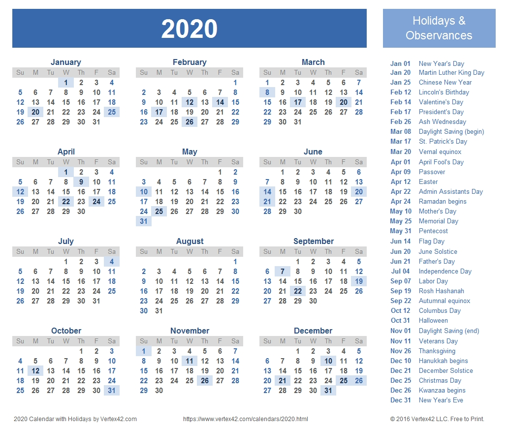 2020 Calendar Templates And Images 2020 Calendar With Holidays By Vertex42