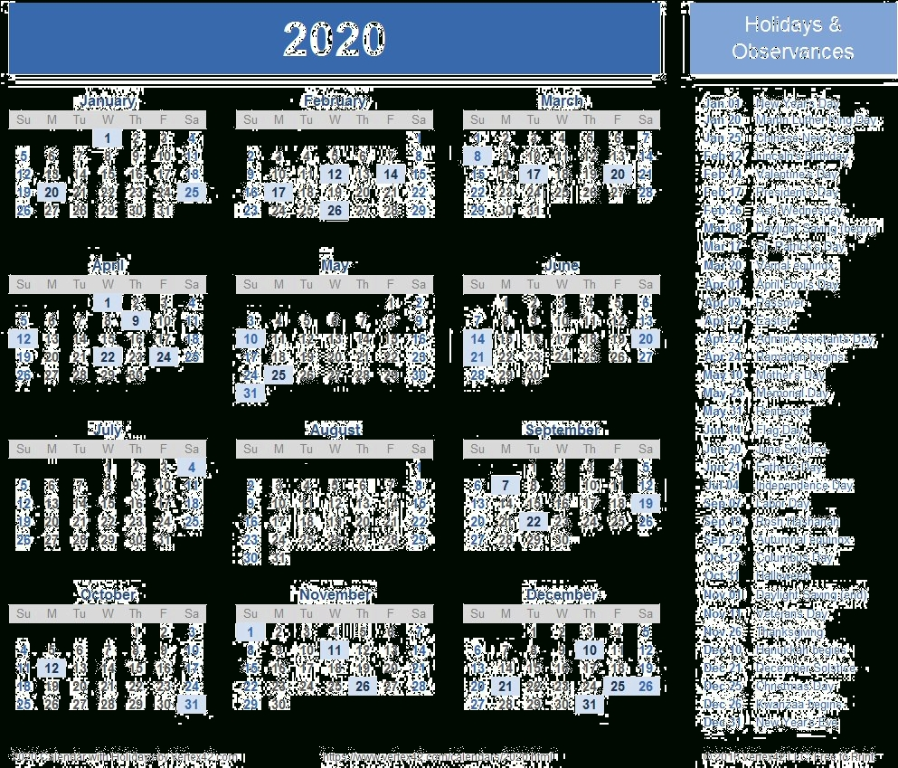 2020 Calendar Transparent Background - Free Printable 2020 2020 Calendar With Holidays By Vertex42