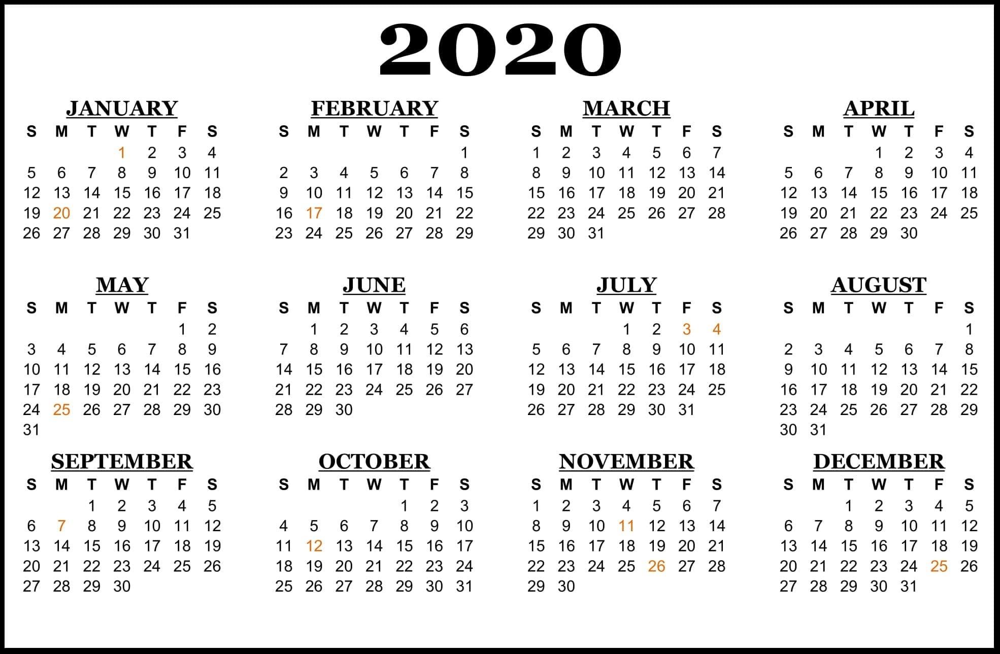 2020-Calendar-Us-Holidays | Printable Template Calendar Year 2020 Calender - South Africa