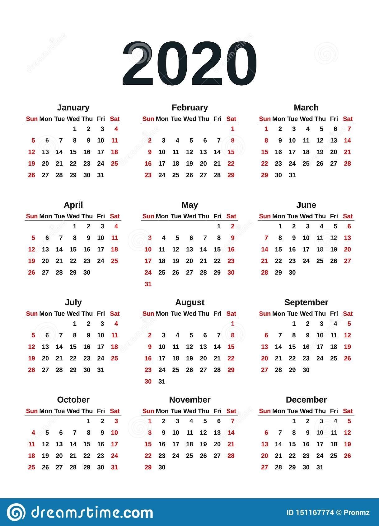 2020 Calendar Year. Vector Illustration. Template Planner 2020 Calendar Numbered Weeks