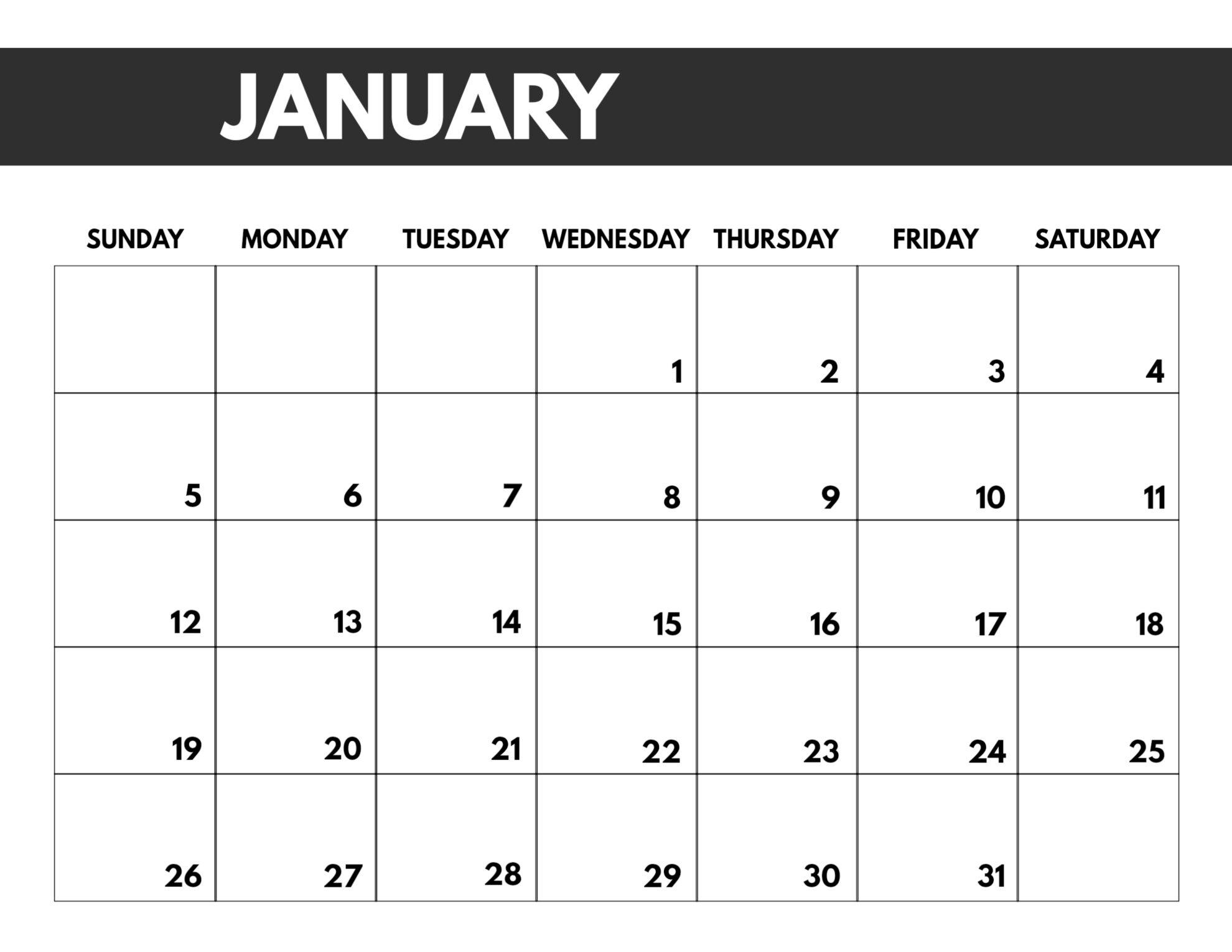 2020 Free Monthly Calendar Template - Paper Trail Design 8.5 X 11 Calendar Print