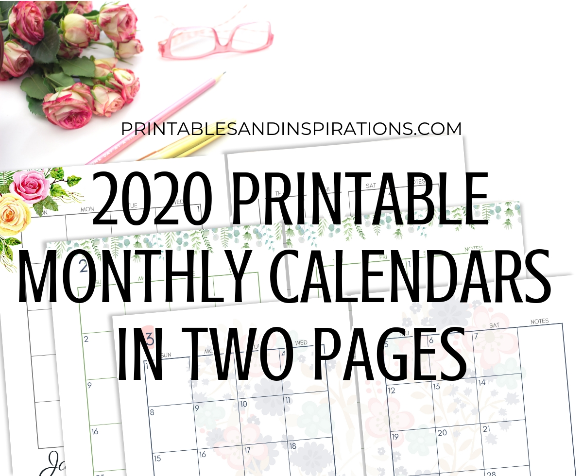 2020 Monthly Calendar Two Page Spread – Free Printable Extraordinary Printable Binder Monthly Calender Blank