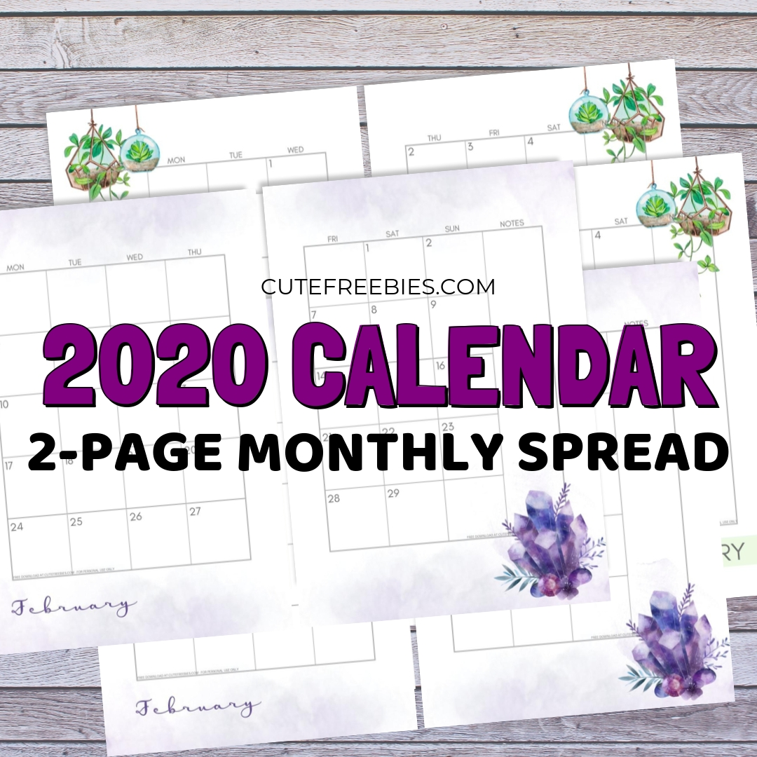 2020 Monthly Calendar Two Page Spread – Free Printable Perky 2 Page Printable Calendar 2020 Free
