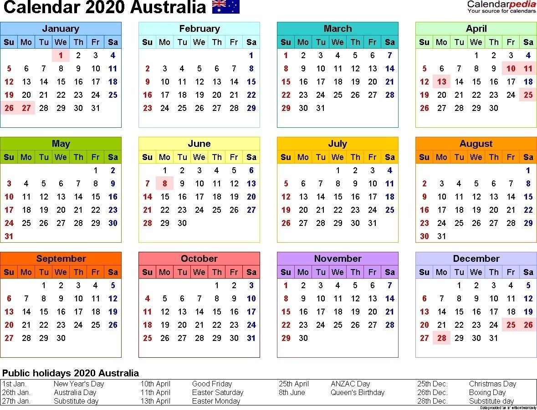 2020 Printable Calendar Australia Australia Calendar 2020 2020 Calendar Uk Printable A4