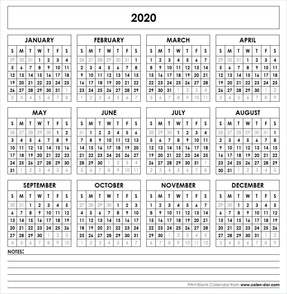 2020 Printable Calendar | Printable Yearly Calendar, Yearly 2020 Yearly Calendar Printable