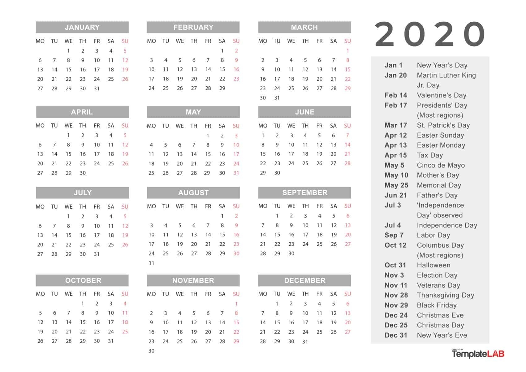 2020 Printable Calendars [Monthly, With Holidays, Yearly] ᐅ Free Printable Calenders With Legal Holidays