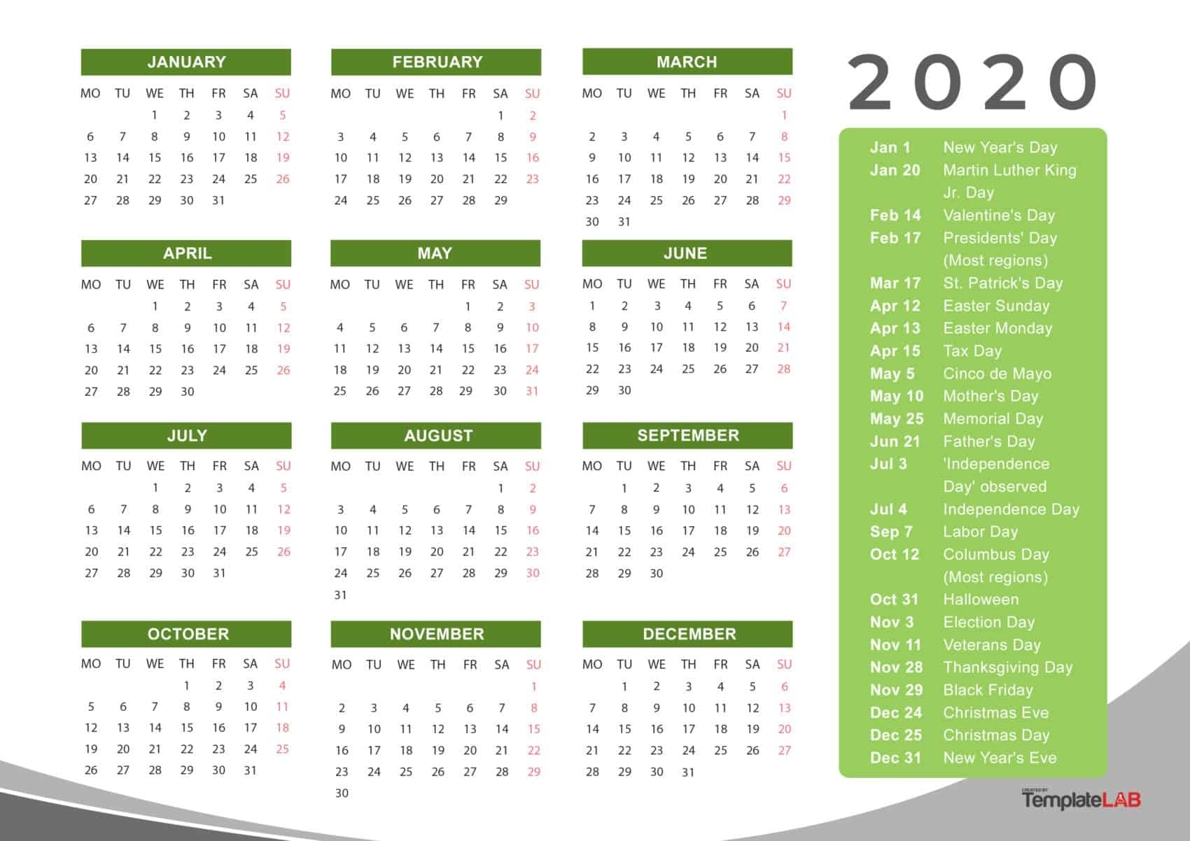 2020 Printable Calendars [Monthly, With Holidays, Yearly] ᐅ Perky Free Printable Calenders With Legal Holidays
