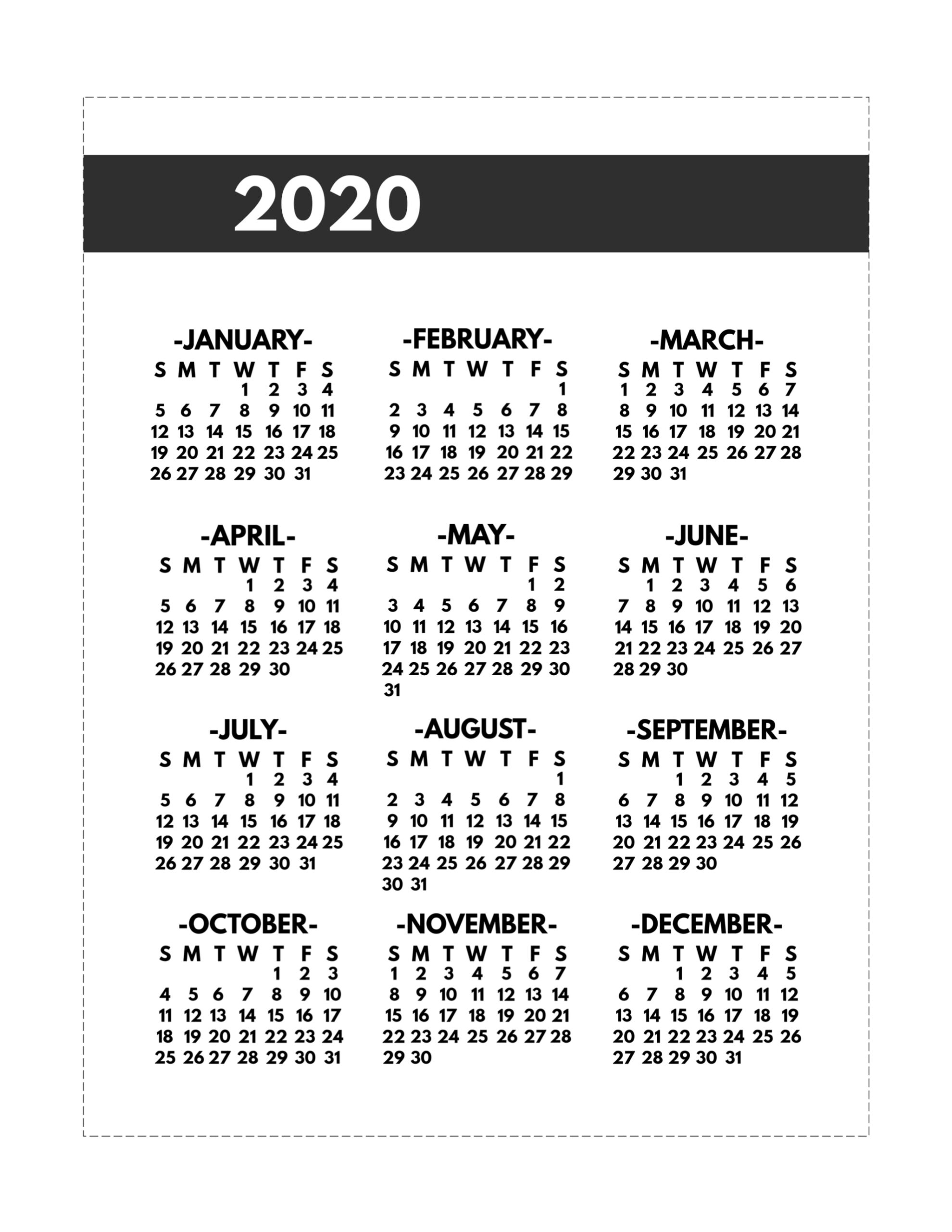 2020 Printable One Page Year At A Glance Calendar - Paper 8.5 X 11 Calendar Print