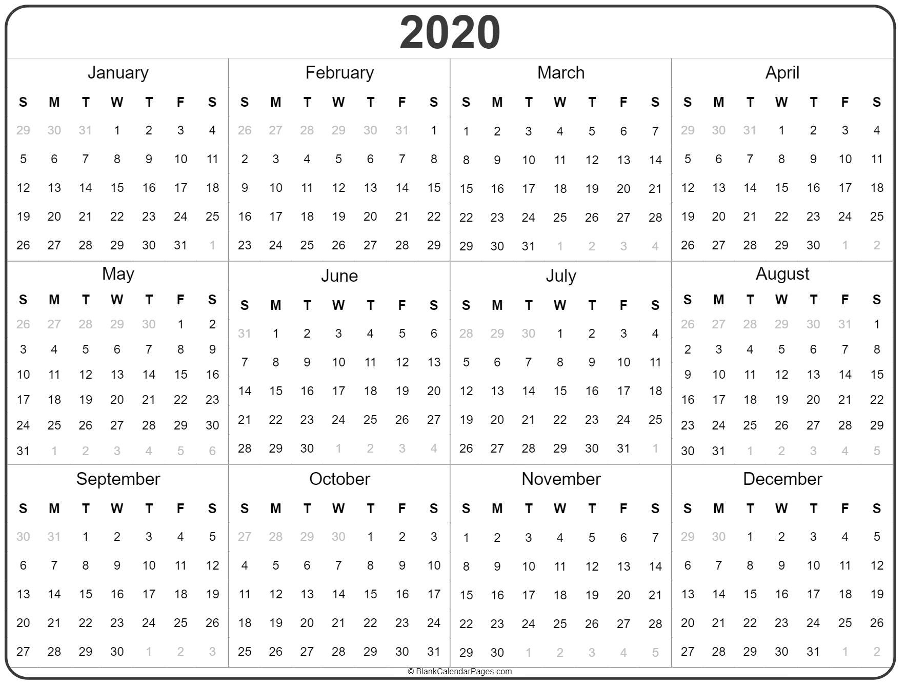 2020 Year Calendar | Yearly Printable Perky Year Calendar 2020 Printable