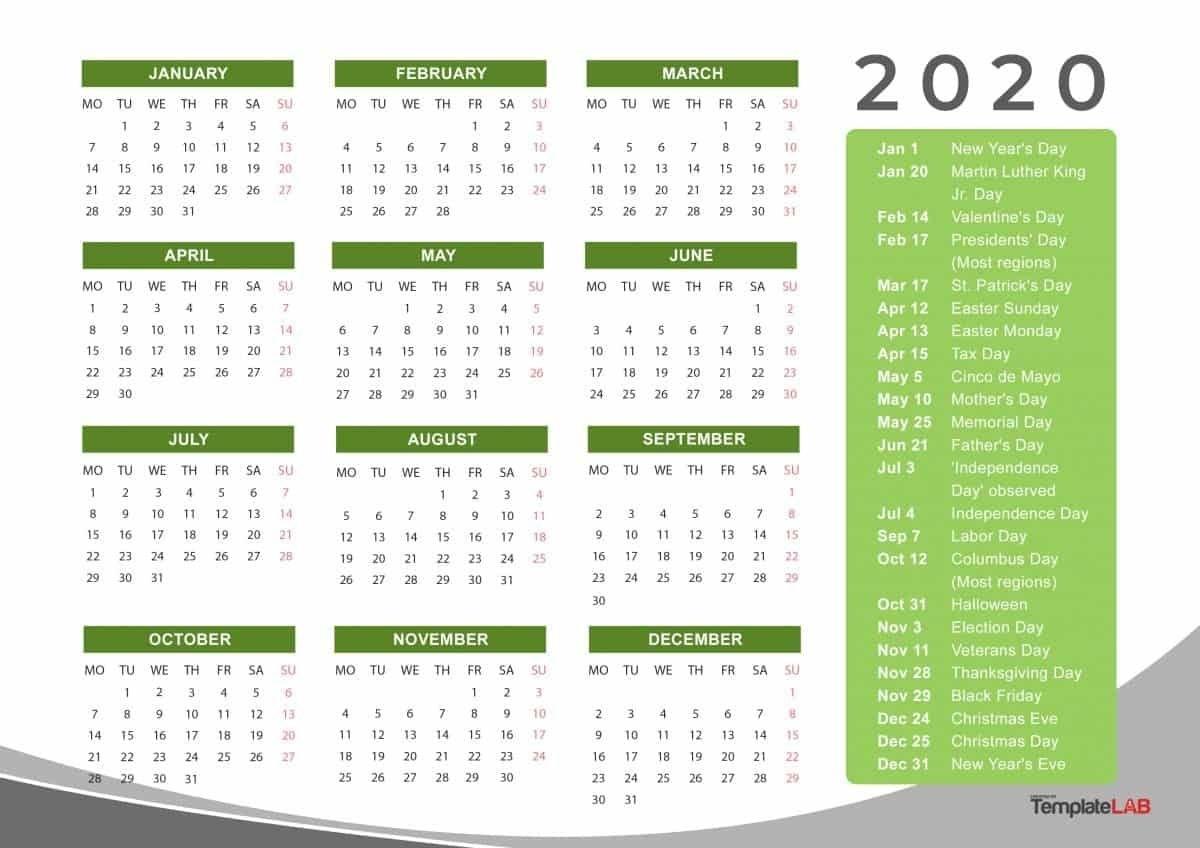 2020 Yearly Holidays Calendar | Printable Calendar Template Free Printable Christmas Calendar 2020